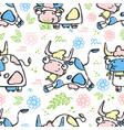 running cow cartoon seamless pattern vector image
