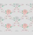 seamless pattern with drawn flowers roses with vector image vector image