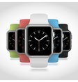 Set of 5 modern shiny sport smart watches with vector image vector image