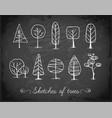 set of doodle sketch trees on blackboard vector image