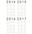 Set of european 2014 2015 2016 2017 calendars vector image vector image
