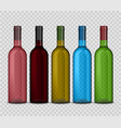 set of transparent bottle of wine on vector image vector image