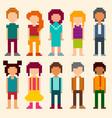 set pixel art style characters vector image