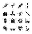 Silhouette collection of medical themed icons vector image