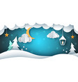 snow landscape - paper cloud fir vector image