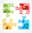 Social media team work puzzle infographic vector image