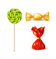 swirl lollipops spiral sucker candy set vector image
