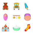 tiny tot icons set cartoon style vector image vector image