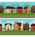 Town seamless borders with cottages and houses vector image vector image