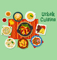 uzbek cuisine icon for asian food design vector image vector image