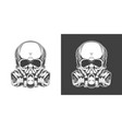 vintage monochrome skull with respirator isolated vector image vector image