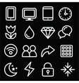 Web menu navigation line white icons set on black vector image vector image