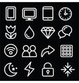 Web menu navigation line white icons set on black vector image