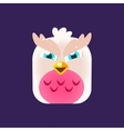 Pink Owl Chick Square Icon vector image