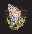 america soldier army hand pray for god with usa vector image vector image