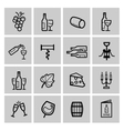 black wine icon set vector image vector image