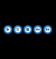blue white round music control buttons set vector image