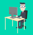 business man working at desk with computer vector image
