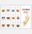 calendar 2021 monthly with cute cats vector image vector image