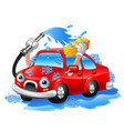 cartoon funny car washing with water pipe and spon vector image