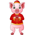 cartoon pig with traditional chinese costume greet vector image