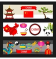 China banners design Chinese symbols and objects vector image vector image