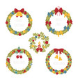 christmas wreath decoration elements set for vector image