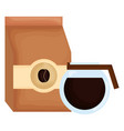 coffee bag product with coffee maker vector image