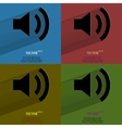 Color set Speaker Flat modern web button with long vector image vector image
