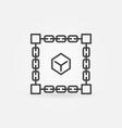 cube inside blockchain block chain linear vector image vector image