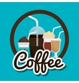 cup glass coffee straw graphic vector image vector image