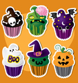 Cute Set of Halloween Cupcakes vector image