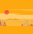 desert with red sun at sunset vector image vector image