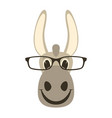 donkey face in glasses front vector image vector image