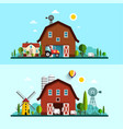 farm with barn windmill and cows flat design vector image vector image
