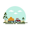 flat red tractor with a cart hay the agricultural vector image vector image
