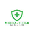 green medical cross shield logo icon design vector image vector image