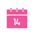 happy valentines day calendar with 14 number