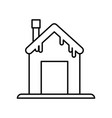 house with chimney and snow design thick line vector image vector image