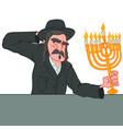 jewish man with mustache holding menorah vector image