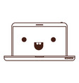 kawaii laptop computer in monochrome silhouette vector image vector image