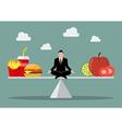 Man balancing between junk food and healthy food vector image vector image