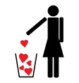 Man throws out a few red hearts in the trash vector image vector image