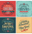 merry christmas emblems vector image vector image