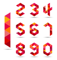 Numbers set in modern polygonal style vector image