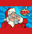omg surprise santa claus reaction vector image vector image
