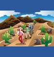 people hiking in desert vector image vector image