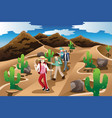 people hiking in the desert vector image vector image