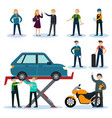 people in car repair service set vector image vector image