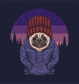 pug dog night vector image vector image